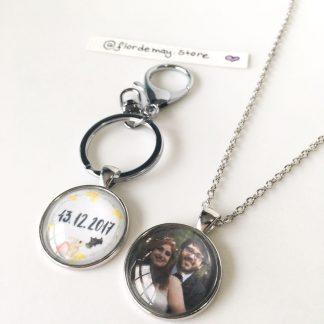 Chaveiro e colar pingente arte personalizada foto dia dos namorados