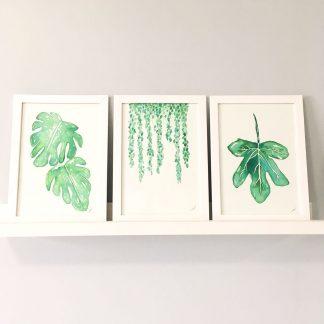 quadros decorativos originais em aquarela folhas folhagens