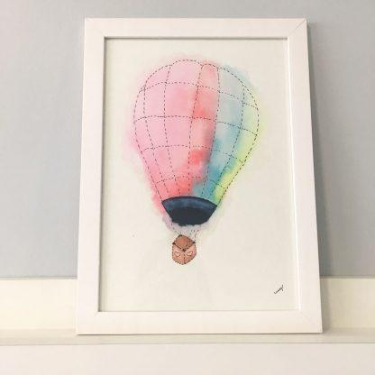 Quadro aquarela decoração quarto de bebê e criança balão colorido