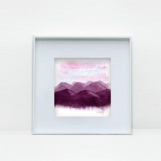 três montanhas aquarela