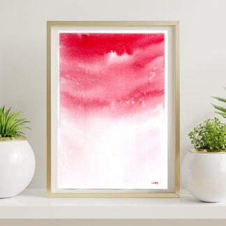 Aquarela abstrata vermelho Mormaço