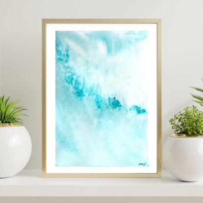 Aquarela abstrata turquesa rebentação onda mar