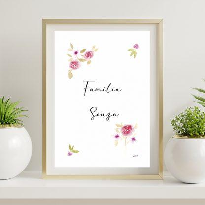 Presente Dia das Mães Flores Aquarela Quadro personalizado
